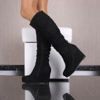 SEXY LADIES BOOTS MADE OF VELOUR WITH WEDGE HEEL BLACK