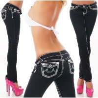 SEXY LADIES JEANS WITH DECORATIVE SEAMS AND RHINESTONES BLACK