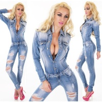 SEXY DESTROYED-LOOK JEANS OVERALL JUMPSUIT WAISTED LIGHT...