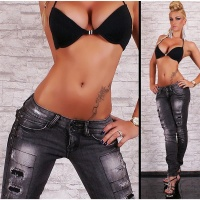 SEXY DESTROYED RÖHRENJEANS JEANS USED LOOK GRAU 34