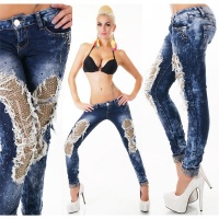 SEXY DESTROYED DRAINPIPE JEANS WITH SEQUINS DARK BLUE