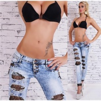SEXY DESTROYED DRAINPIPE JEANS WITH LACE AND RHINESTONES BLUE/BLACK UK 16 (XL)