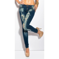 SEXY DESTROYED SKINNY DRAINPIPE JEANS WITH RHINESTONES DARK BLUE UK 10