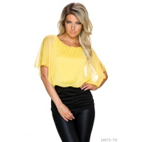 SEXY DOUBLE LOOK SHORT-SLEEVED SHIRT WITH MESH YELLOW/BLACK