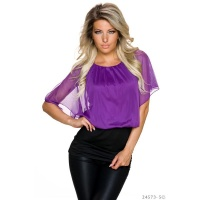 SEXY DOUBLE LOOK SHORT-SLEEVED SHIRT WITH MESH PURPLE/BLACK