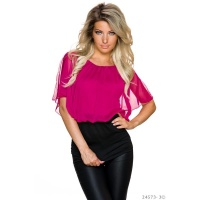 SEXY DOUBLE LOOK SHORT-SLEEVED SHIRT WITH MESH FUCHSIA/BLACK