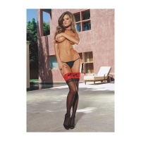 SEXY DREAMGIRL SHEER THIGH-HIGH NYLON STOCKINGS LACE EDGE BLACK/RED