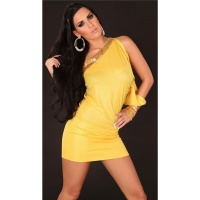 SEXY ONE-ARMED EVENING DRESS MINI DRESS GLITTER YELLOW UK 10/12