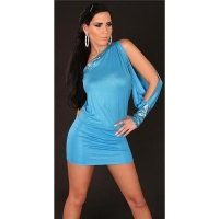 SEXY ONE-ARMED EVENING DRESS MINI DRESS GLITTER TURQUOISE UK 10/12