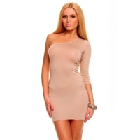 SEXY ONE-ARMED MINIDRESS CLUBWEAR BEIGE UK 10/12 (M/L)