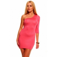 SEXY ONE-ARMED MINIDRESS CLUBWEAR SALMON