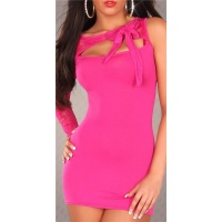 SEXY ONE-ARMED MINIDRESS WITH LACE BOW FUCHSIA