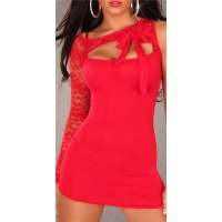 SEXY ONE-ARMED MINIDRESS WITH LACE BOW RED