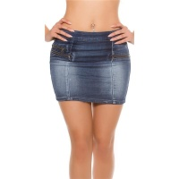 SEXY SLIM-FIT JEANS MINISKIRT IN USED-LOOK WITH ZIPPERS...