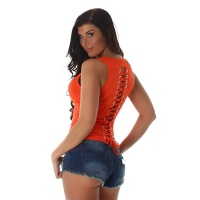 SEXY FINE RIB TANKTOP WITH LACING AT THE BACK ORANGE