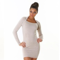 SEXY FINE-KNITTED MINIDRESS IN BOLERO-LOOK WITH RIVETS BEIGE