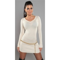 SEXY FINE-KNITTED MINIDRESS/LONG SWEATER WITH ZIP AT V-NECK BEIGE