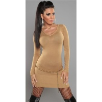SEXY FINE-KNITTED MINIDRESS/LONG SWEATER WITH ZIP AT V-NECK CAMEL