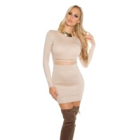 SEXY FINE-KNITTED MINIDRESS WITH TRANSPARENT MESH BEIGE