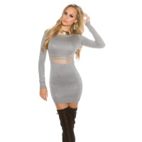 SEXY FINE-KNITTED MINIDRESS WITH TRANSPARENT MESH GREY