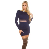 SEXY FINE-KNITTED MINIDRESS WITH TRANSPARENT MESH NAVY