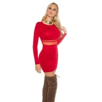 SEXY FINE-KNITTED MINIDRESS WITH TRANSPARENT MESH RED