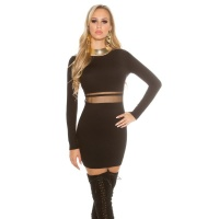 SEXY FINE-KNITTED MINIDRESS WITH TRANSPARENT MESH BLACK