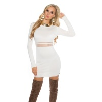 SEXY FINE-KNITTED MINIDRESS WITH TRANSPARENT MESH WHITE