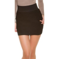 SEXY FINE-KNITTED MINISKIRT WITH CHECKERBOARD PATTERN BLACK