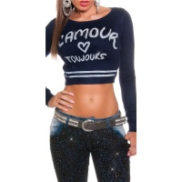 SEXY FINE-KNITTED CROP SWEATER LAMOUR NAVY