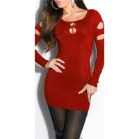 FANCY FINE-KNITTED LONG SWEATER WITH GLITTER THREADS AND CUT-OUTS RED