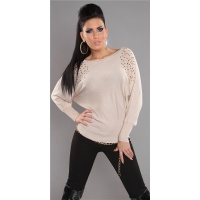 ELEGANT FINE-KNITTED SWEATER WITH RIVETS RHINESTONES BEIGE