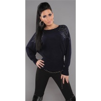 ELEGANT FINE-KNITTED SWEATER WITH RIVETS RHINESTONES DARK BLUE
