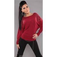 ELEGANT FINE-KNITTED SWEATER WITH RIVETS RHINESTONES RED