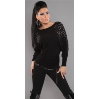 ELEGANT FINE-KNITTED SWEATER WITH RIVETS RHINESTONES BLACK Onesize (UK 8,10,12)