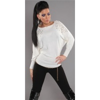 ELEGANT FINE-KNITTED SWEATER WITH RIVETS RHINESTONES WHITE
