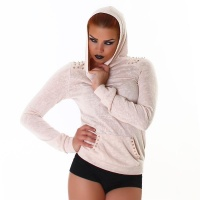 ELEGANT FINE-KNITTED SWEATER WITH RIVETS HOOD BEIGE