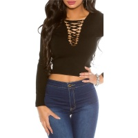 SEXY FINE-KNITTED V-CUT CROP SWEATER WITH LACING BLACK