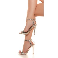 SEXY FESSELRIEMCHEN SANDALETTEN HIGH HEELS IN LACK-OPTIK...