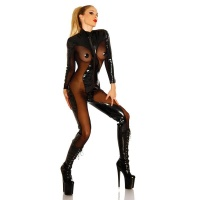 SEXY FETISCH OVERALL LACK-OPTIK TRANSPARENT WETLOOK GOGO SCHWARZ
