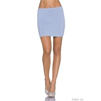 SEXY FIGURE-HUGGING KNITTED MINISKIRT GREY-BLUE