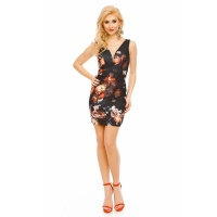 SEXY SLIM-FIT MINIDRESS WITH FLORAL PATTERN BLACK