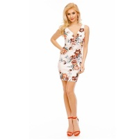 SEXY SLIM-FIT MINIDRESS WITH FLORAL PATTERN WHITE