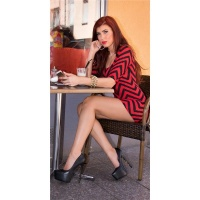SEXY FIGURE-HUGGING MINIDRESS WITH ZIGZAG PATTERN RED/BLACK