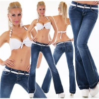 SEXY LOW-RISE FLARED JEANS IN USED-LOOK INCL. BELT DARK BLUE UK 16 (XL)