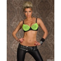 SEXY WIRED BRA WITH RIVETS GOGO CLUBWEAR BLACK/NEON-YELLOW