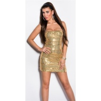 SEXY GLAMOUR BANDEAU MINIDRESS WITH SEQUINS GOLD