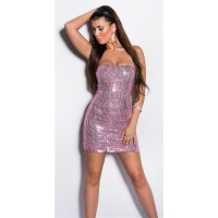 SEXY GLAMOUR BANDEAU MINIDRESS WITH SEQUINS PINK