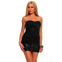 SEXY GLAMOUR BANDEAU MINI DRESS PARTY DRESS WITH SEQUINS BLACK UK 8 (S)