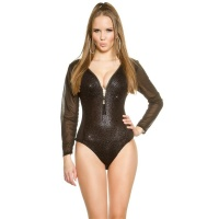 SEXY GLAMOUR BODYSHIRT IN REPTILE-LOOK WITH CHIFFON BLACK